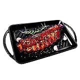 Küpfanche 33cm rechteckige Grillplatte aus Gusseisen mit mattschwarzer Emaillierung, Induktion Grillpfanne mit Zwei Griffen, schöne Grillstreifen, schwarz